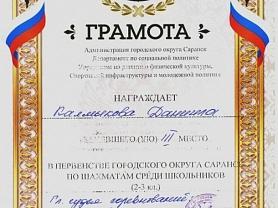Личное первенство по шахматам среди учащихся 2 и 3 классов в г.Саранск
