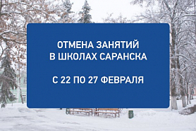 Отмена занятий с 22 по 27 февраля в школах Саранска