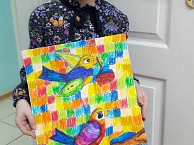 Весенняя композиция с птицами