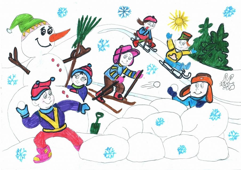 рисунок зимний вид спорта для сада городу стороны