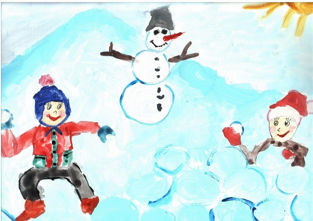 Детские рисунки зимние забавы красками