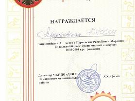 Первенство Республики Мордовия по вольной борьбе среди школьников 2003-2004 годов рождения